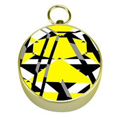 Yellow, black and white pieces abstract design Gold Compass