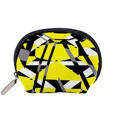 Yellow, black and white pieces abstract design Accessory Pouch (Small)