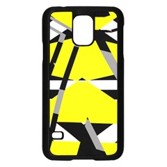 Yellow, Black And White Pieces Abstract Design Samsung Galaxy S5 Case (black)