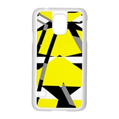 Yellow, black and white pieces abstract design Samsung Galaxy S5 Case (White)