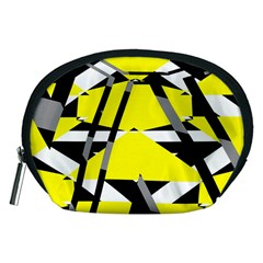 Yellow, black and white pieces abstract design Accessory Pouch (Medium)
