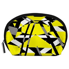 Yellow, black and white pieces abstract design Accessory Pouch (Large)