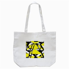 Yellow, Black And White Pieces Abstract Design Tote Bag (white)