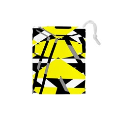 Yellow, black and white pieces abstract design Drawstring Pouch (Small)