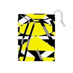 Yellow, black and white pieces abstract design Drawstring Pouch (Medium)