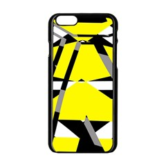 Yellow, black and white pieces abstract design Apple iPhone 6 Black Enamel Case