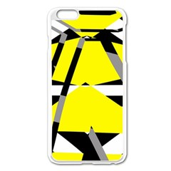 Yellow, Black And White Pieces Abstract Design Apple Iphone 6 Plus Enamel White Case