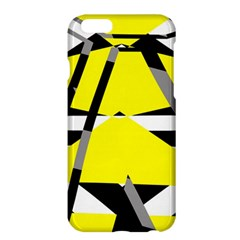 Yellow, Black And White Pieces Abstract Design Apple Iphone 6 Plus Hardshell Case