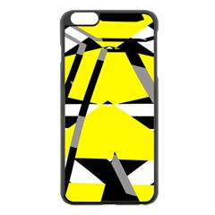 Yellow, Black And White Pieces Abstract Design Apple Iphone 6 Plus Black Enamel Case