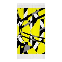 Yellow, Black And White Pieces Abstract Design Shower Curtain 36  X 72  (stall)