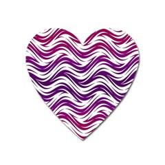 Purple Waves Pattern Magnet (heart)