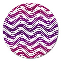 Purple Waves Pattern Magnet 5  (round)