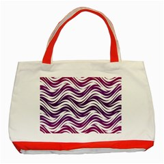 Purple Waves Pattern Classic Tote Bag (red)