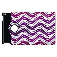 Purple waves pattern Apple iPad 3/4 Flip 360 Case