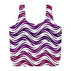 Purple Waves Pattern Full Print Recycle Bag (l)