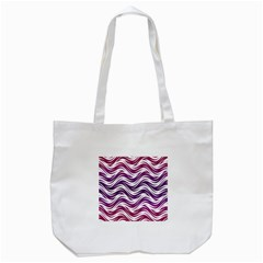 Purple waves pattern Tote Bag (White)