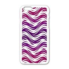 Purple waves pattern Apple iPhone 6 White Enamel Case