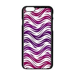Purple Waves Pattern Apple Iphone 6 Black Enamel Case