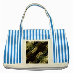 Geometric Abstract Grunge Prints in Cold Tones Blue Striped Tote Bag