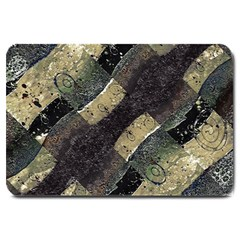 Geometric Abstract Grunge Prints in Cold Tones Large Door Mat