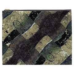 Geometric Abstract Grunge Prints In Cold Tones Cosmetic Bag (xxxl)