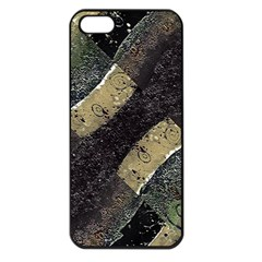 Geometric Abstract Grunge Prints In Cold Tones Apple Iphone 5 Seamless Case (black)