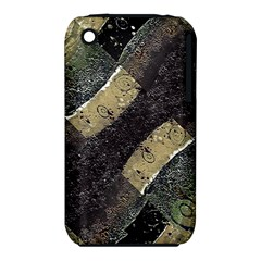 Geometric Abstract Grunge Prints in Cold Tones Apple iPhone 3G/3GS Hardshell Case (PC+Silicone)