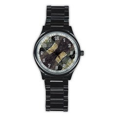 Geometric Abstract Grunge Prints In Cold Tones Sport Metal Watch (black)