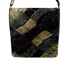 Geometric Abstract Grunge Prints In Cold Tones Flap Closure Messenger Bag (large)