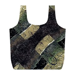Geometric Abstract Grunge Prints in Cold Tones Reusable Bag (L)