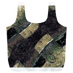 Geometric Abstract Grunge Prints In Cold Tones Reusable Bag (xl)