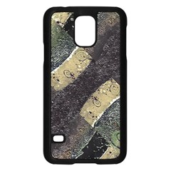 Geometric Abstract Grunge Prints in Cold Tones Samsung Galaxy S5 Case (Black)
