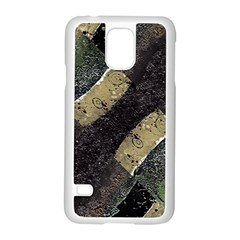 Geometric Abstract Grunge Prints in Cold Tones Samsung Galaxy S5 Case (White)