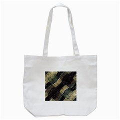 Geometric Abstract Grunge Prints in Cold Tones Tote Bag (White)