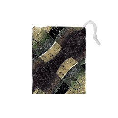 Geometric Abstract Grunge Prints In Cold Tones Drawstring Pouch (small)