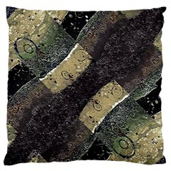 Geometric Abstract Grunge Prints In Cold Tones Large Flano Cushion Case (two Sides)