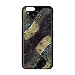 Geometric Abstract Grunge Prints in Cold Tones Apple iPhone 6 Black Enamel Case