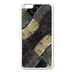 Geometric Abstract Grunge Prints in Cold Tones Apple iPhone 6 Plus Enamel White Case