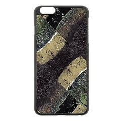 Geometric Abstract Grunge Prints in Cold Tones Apple iPhone 6 Plus Black Enamel Case