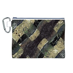 Geometric Abstract Grunge Prints in Cold Tones Canvas Cosmetic Bag (Large)
