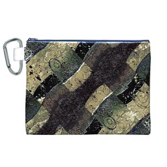 Geometric Abstract Grunge Prints in Cold Tones Canvas Cosmetic Bag (XL)