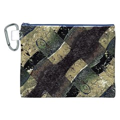 Geometric Abstract Grunge Prints in Cold Tones Canvas Cosmetic Bag (XXL)