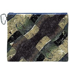 Geometric Abstract Grunge Prints in Cold Tones Canvas Cosmetic Bag (XXXL)