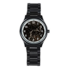Spider Web Print Grunge Dark Texture Sport Metal Watch (Black)