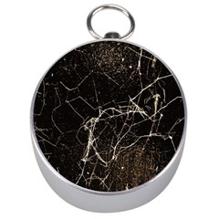 Spider Web Print Grunge Dark Texture Silver Compass