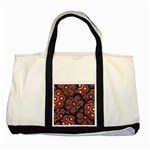 Modern Floral Decorative Pattern Print Two Toned Tote Bag Front