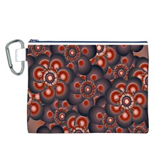 Modern Floral Decorative Pattern Print Canvas Cosmetic Bag (Large)