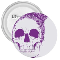 Purple Skull Bun Up 3  Button