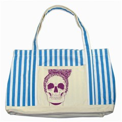 Purple Skull Bun Up Blue Striped Tote Bag