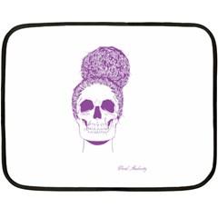 Purple Skull Bun Up Mini Fleece Blanket (Two Sided)